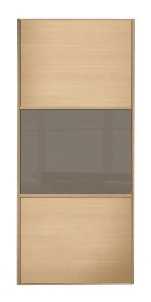 Wideline sliding wardrobe door, Maple frame, Maple-Cappuccino-Maple